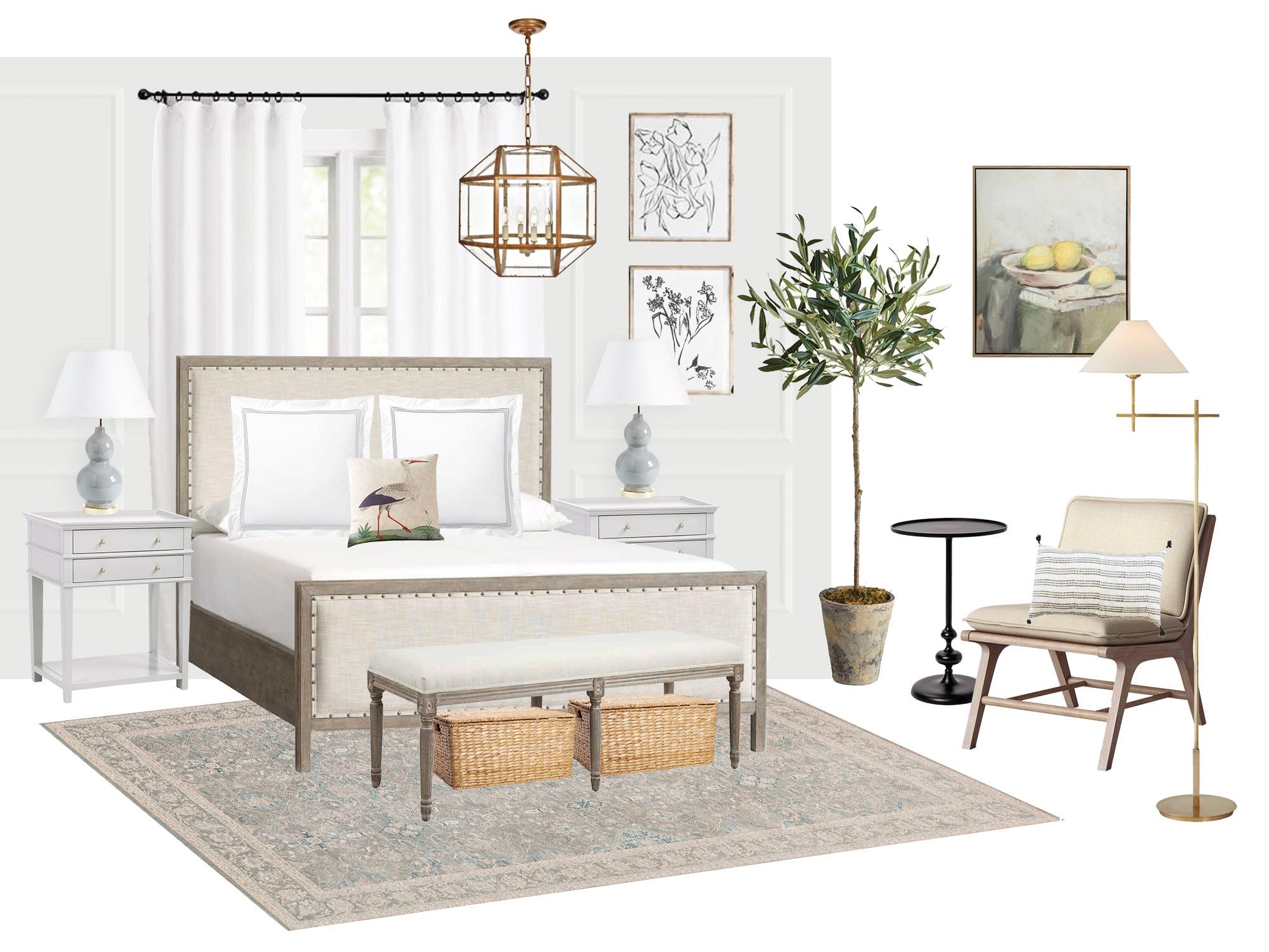 serene bedroom mood board inspiration board