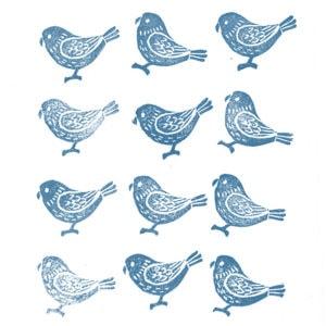 bird stamps indigo printable wall art