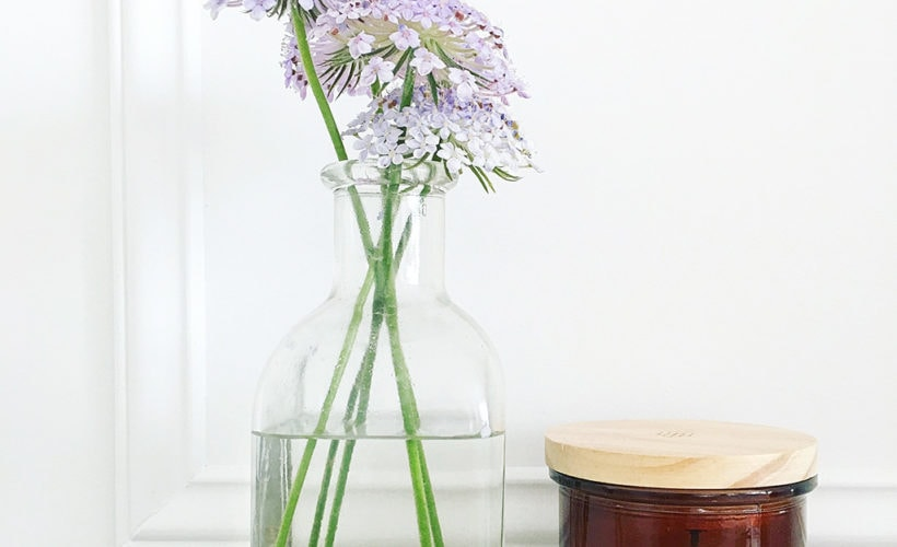 fresh flower in vintage glass vase, add romance to your home. romantic decor, parisian chic, french decor
