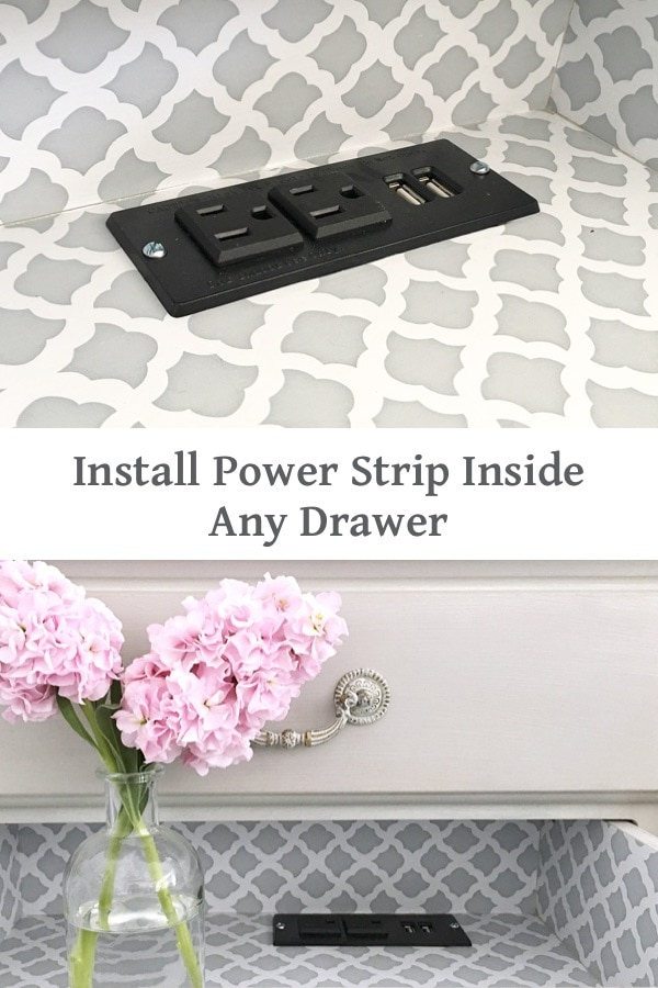 how to install power outlet inside any drawer #diy #hidecord #powerstrip #draweroutlet