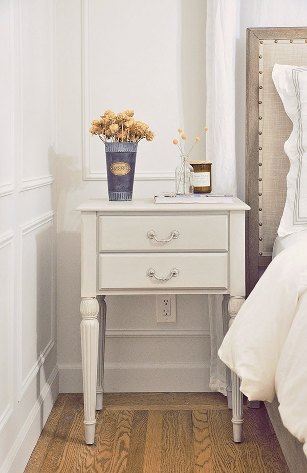 bedroom nightstand furniture makeover with chalk paint pottery barn toulouse bed