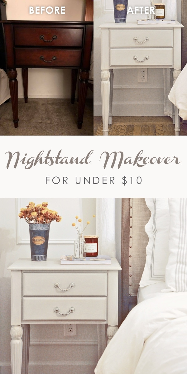nightstand makeover for under 10 dollars | furniture refinishing ideas using chalk paint, update boring looking furniture #furniturerefinishing #furnituremakeover #chalkpaint