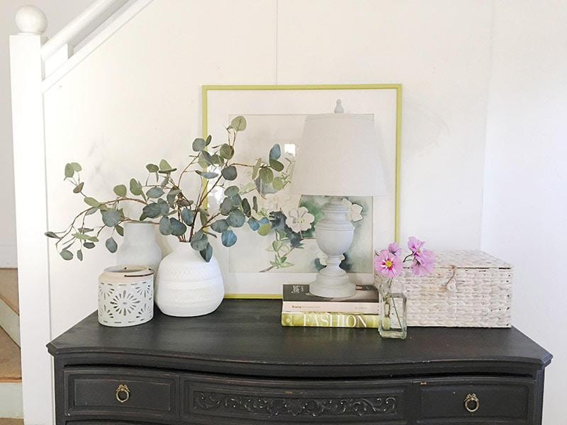 diy project with chalk paint to refinish a dark color furniture