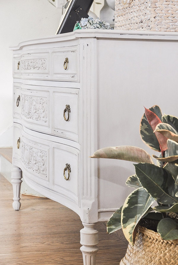 antique dresser makeover, ornate antique chest | diy project with chalk paint to refinish a dark color furniture, antique chest