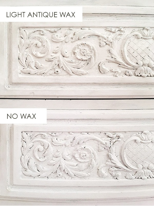 light antique wax vs no wax. furniture refinishing