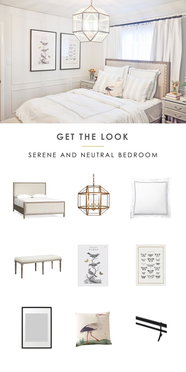 get the look serene and neutral bedroom, interior design moodboard, shop the room | pottery barn toulouse bed, pottery barn grand organic duvet and euro sham pillow, ikea bilk poster #bedroom #getthelook #shoptheroom