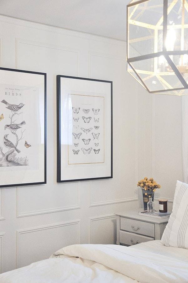 bedroom tour, suzanne kasler morris lantern, pottery barn toulouse bed, ikea large framed art
