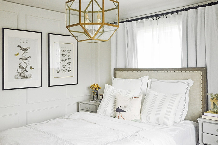 bedroom tour, pottery barn toulouse bed, ikea large framed art