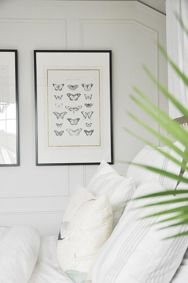 serene bedroom, indoor palm plants, ikea framed wall art
