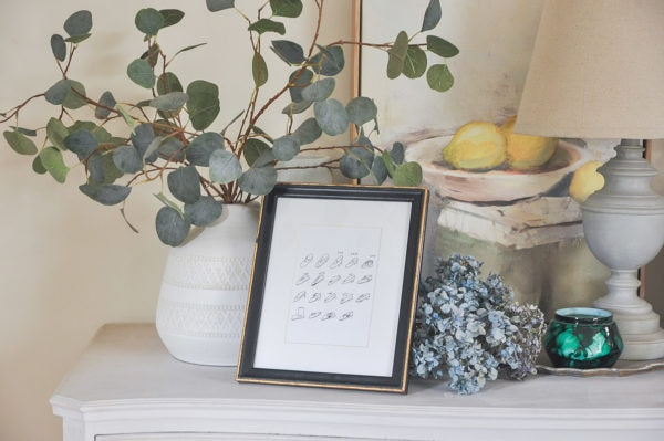 update an old looking picture frame, home decor makeover with whimsical shoes printable art | digital art print