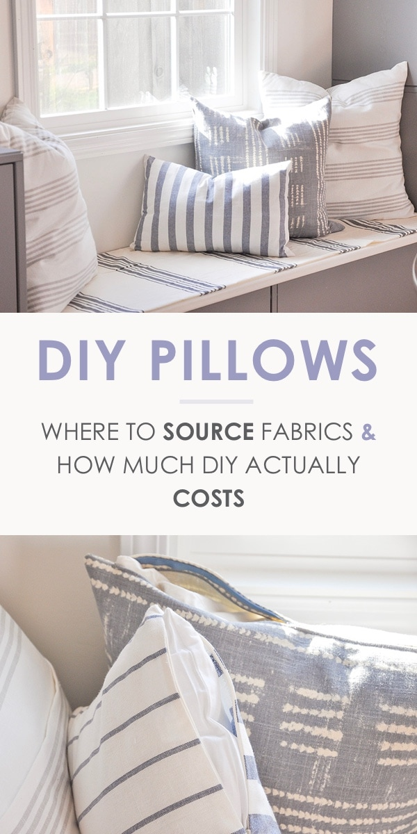 diy throw pillow breakdown, where to source fabric and how much diy pillow actually cost, stripe fabric, window seat, banquette seating, ikea dish towel, world market tablecloth, pottery barn shobori dot napkin made pillow
