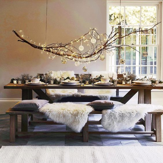 dreamy light fixture with hanging tree branch | hygge decor for home decorating