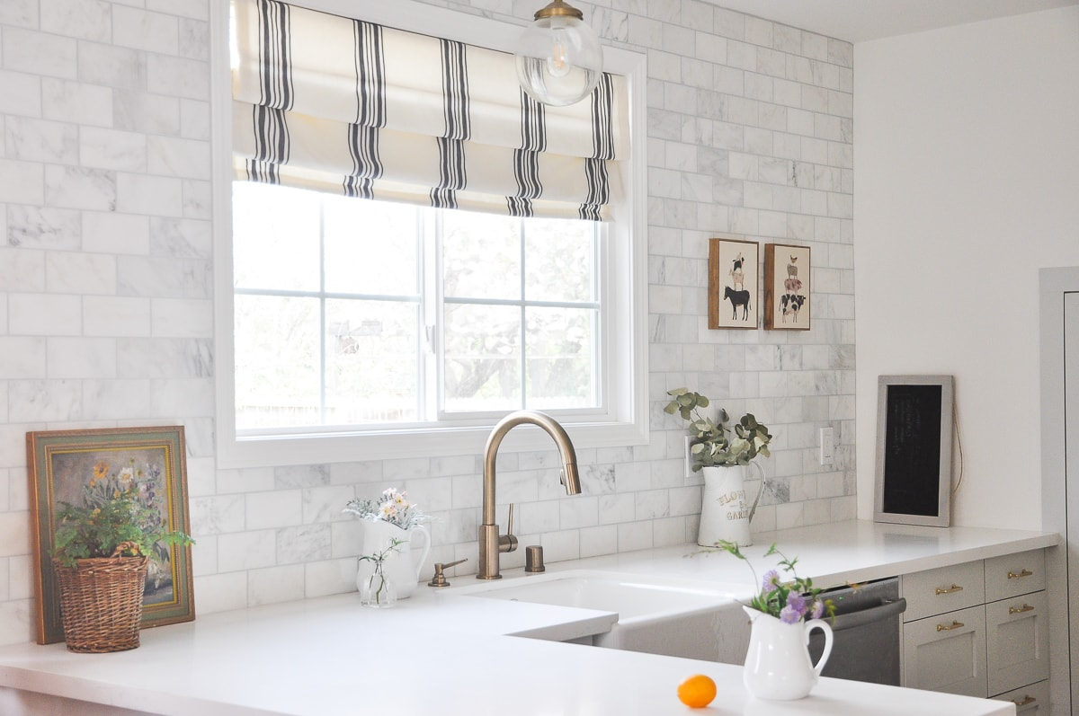 photo of over the sink kitchen window treatment for modern farmhouse