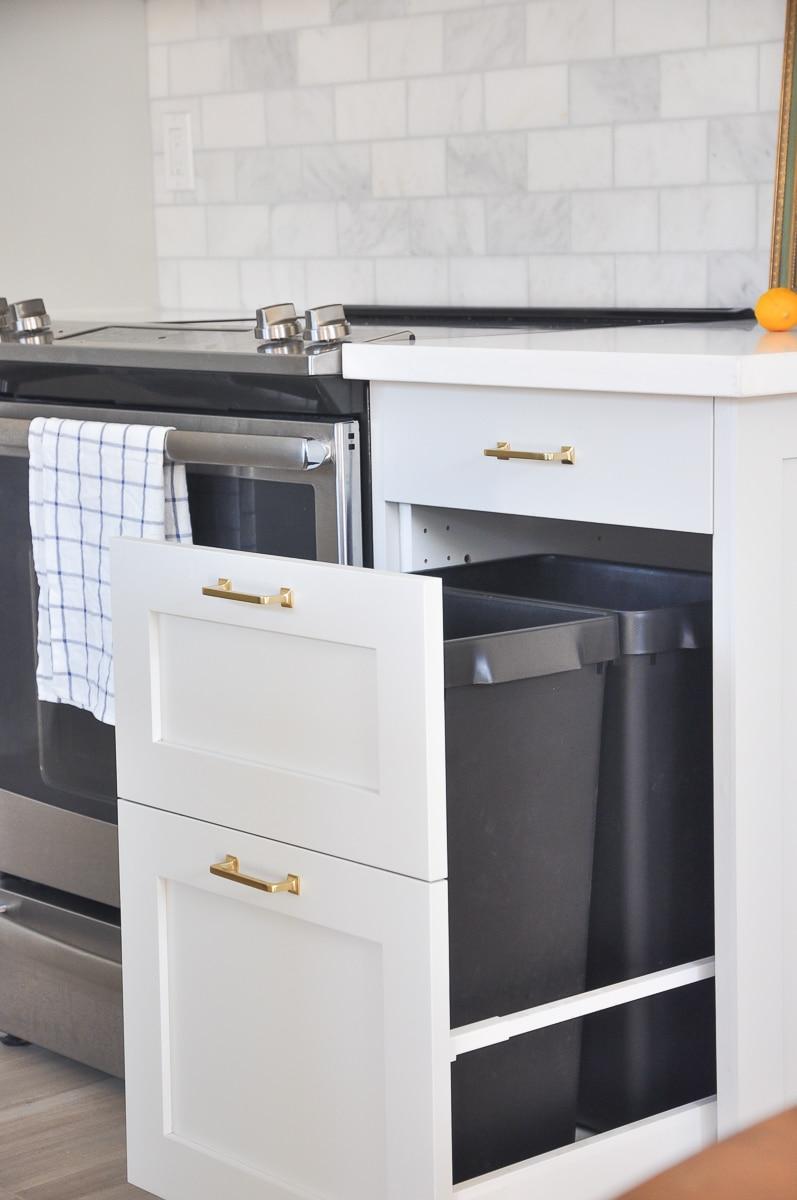 ikea kitchen organization - trash cabinet