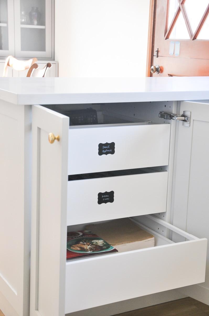 IKEA kitchen tour, ikea sektion kitchen cabinets system | small kitchen organization tips and ideas | small kitchen space hack, maximize storage and organization ideas | ikea drawer organizer