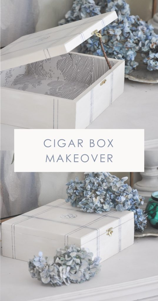 vintage cigar box makeover, cigar box crafts ideas, repurposed thrifted cigar box | bone inlay storage box, diy home decor, anthropologie cloud formation wallpaper lining