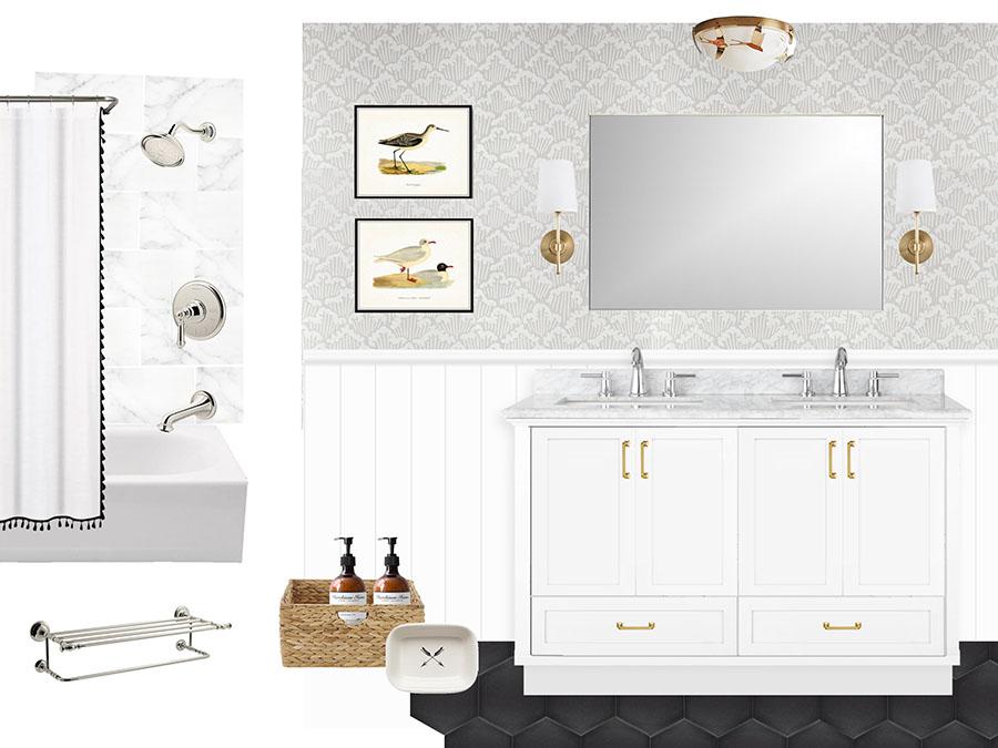 bathroom wallpaper mood board