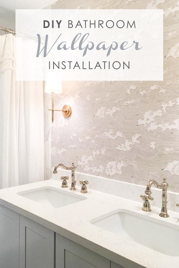 diy bathroom wallpaper installation, master bathroom remodel, small bathroom renovation, diy install wallpaper, 12 by 24 venato carrara marble subway tile in shower bath combo #bathroomwallpaper #wallpaperinstallation