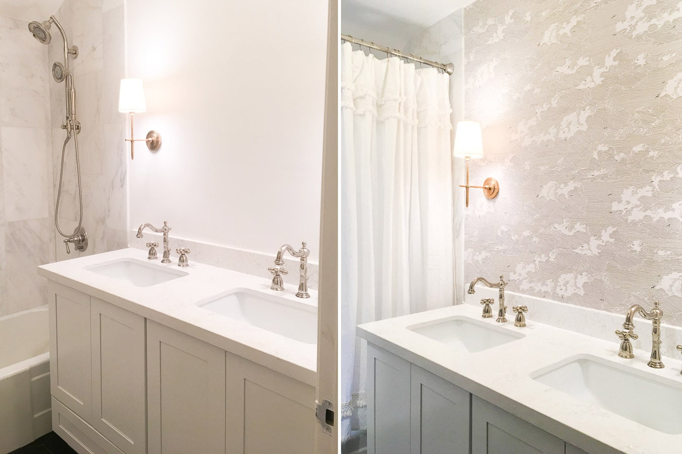 master bathroom remodel, before and after diy wallpaper installation, small bathroom remodel