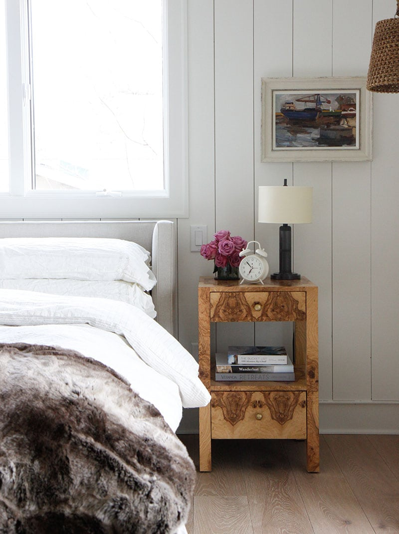 my favorite interior design style series | modern farmhouse | beautiful modern farmhouse | vertical shiplap planked walls in light gray, bedroom,