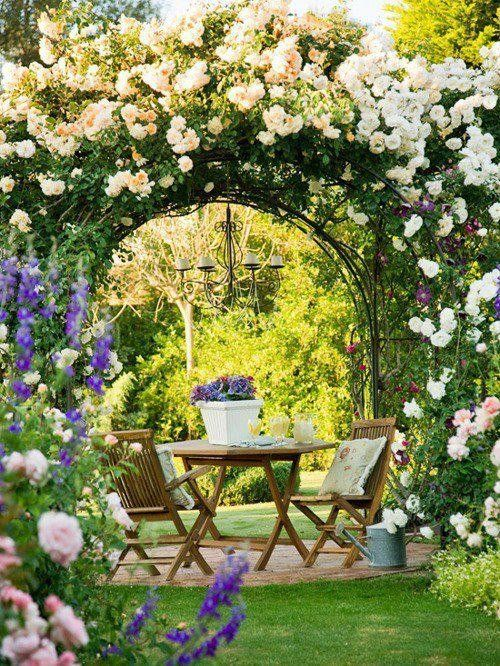 dreamy garden design, garden ideas, backyards. garden space, romantic garden with climbing roses, european garden