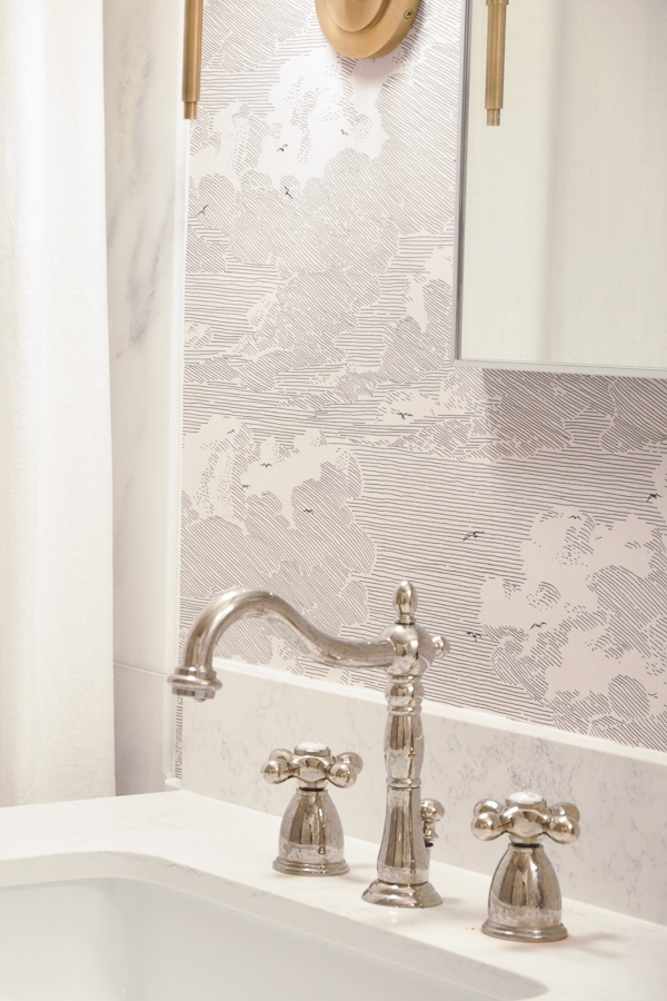 master bathroom remodel, small bathroom renovation, diy install wallpaper, anthropologie cloud formation wallpaper, polished nickel faucet