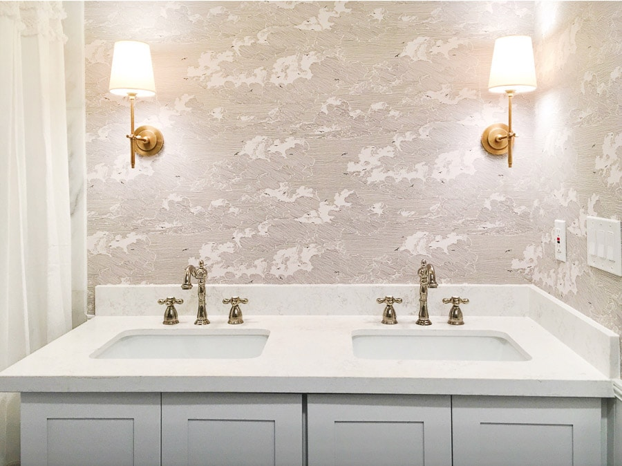 master bathroom remodel, small bathroom renovation, diy install wallpaper, anthropologie cloud formation wallpaper, polished nickel faucet, visual comfort bryant sconces