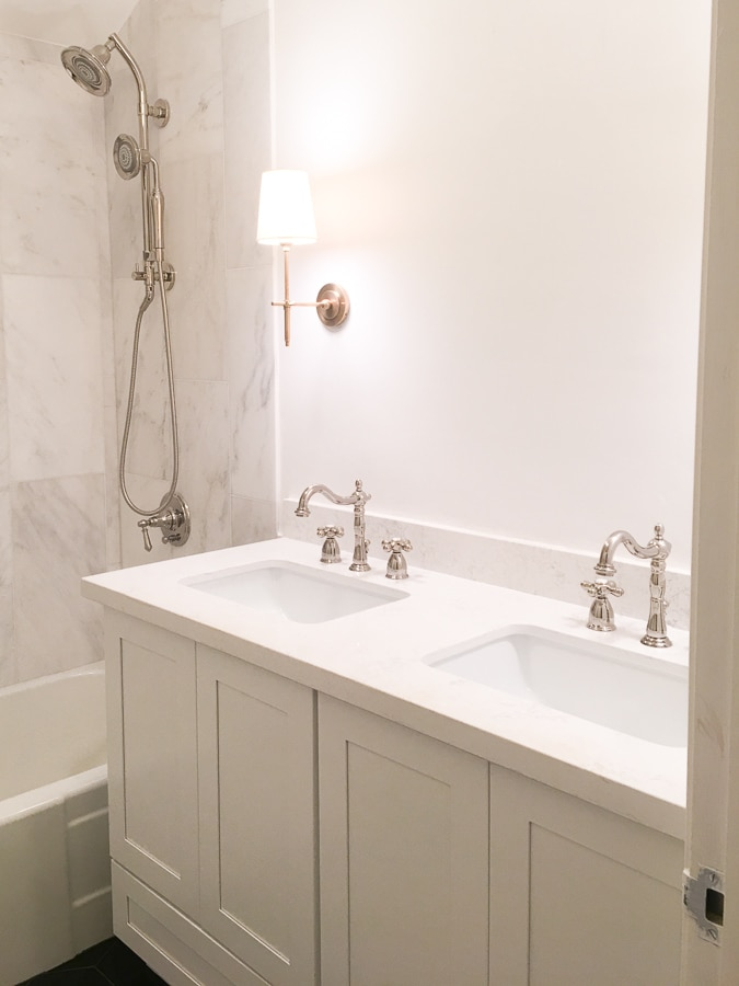 master bathroom remodel, small bathroom renovation, diy install wallpaper, 12 by 24 venato carrara marble subway tile in shower bath combo , kholer artifacts shower facet and spray head