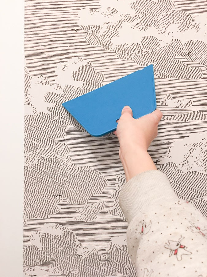 master bathroom remodel, small bathroom renovation, diy install wallpaper, anthropologie cloud formation wallpaper