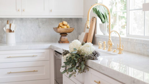 my favorite interior design style series   modern farmhouse   beautiful modern farmhouse spaces   white marble countertop, white shaker cabinet, unlacquered brass faucet, marble backsplash
