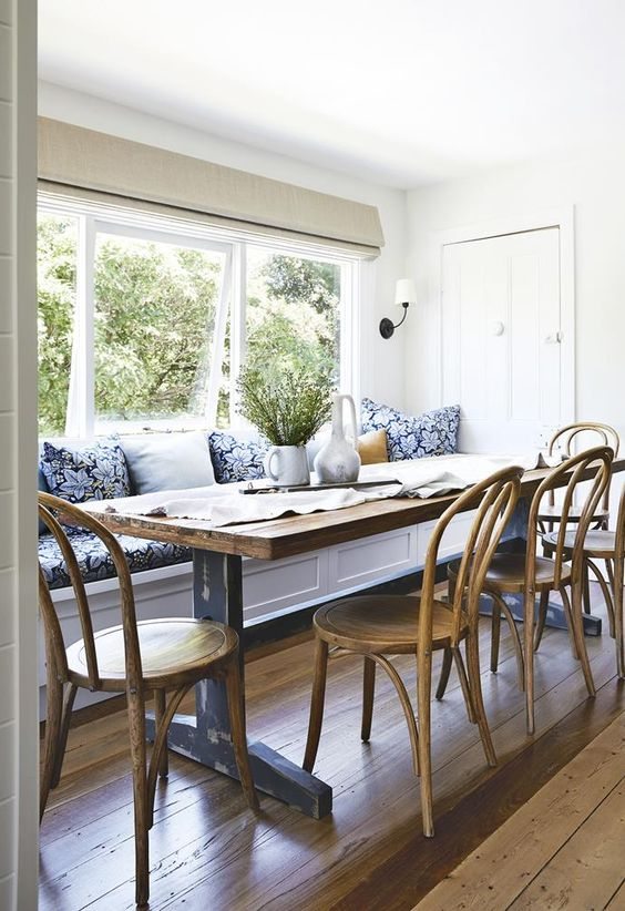 small dining room remodel mood board, inspiration board, banquette seating, cottage dining room