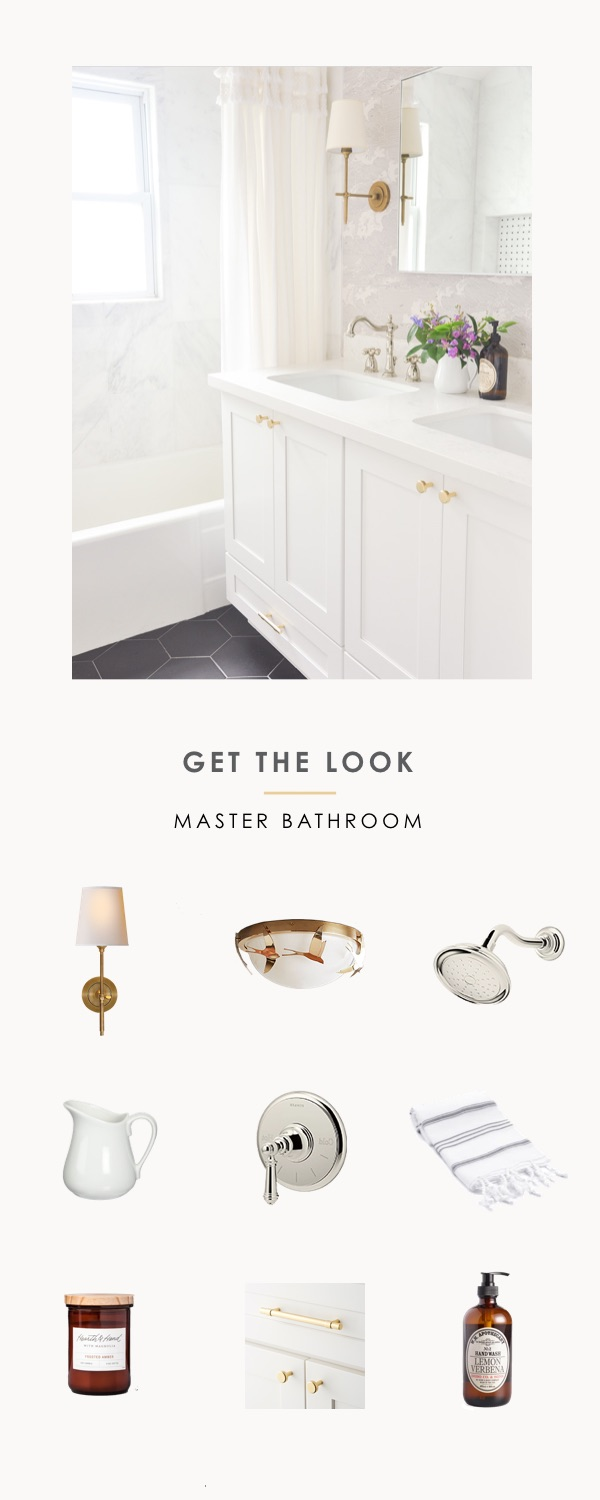 get the look, shop the look, small master bathroom fresh and airy, anthropologie, modern boho chic, vintage inspired