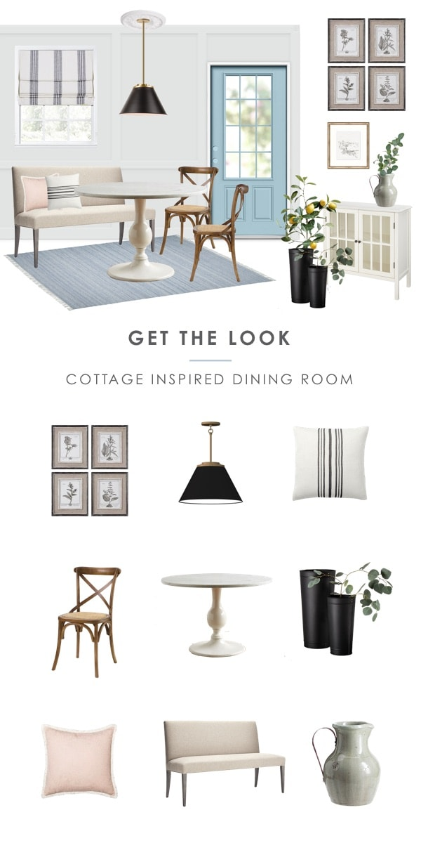 get the look: small dining room cottage fresh farmhouse light and airy dining nook with bench seating