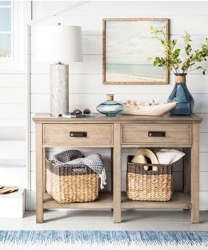 my favorite interior design style | coastal beachy style | serena and lily, fresh, seaside interiors, entry way console table styling