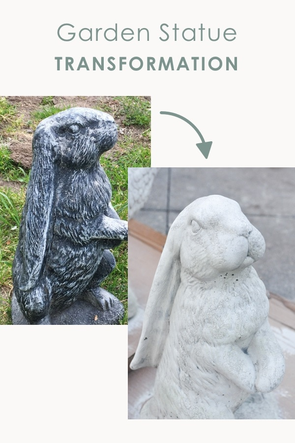 DIY garden statue makeover transformation, easy garden diy project, rabbit garden statue decoration