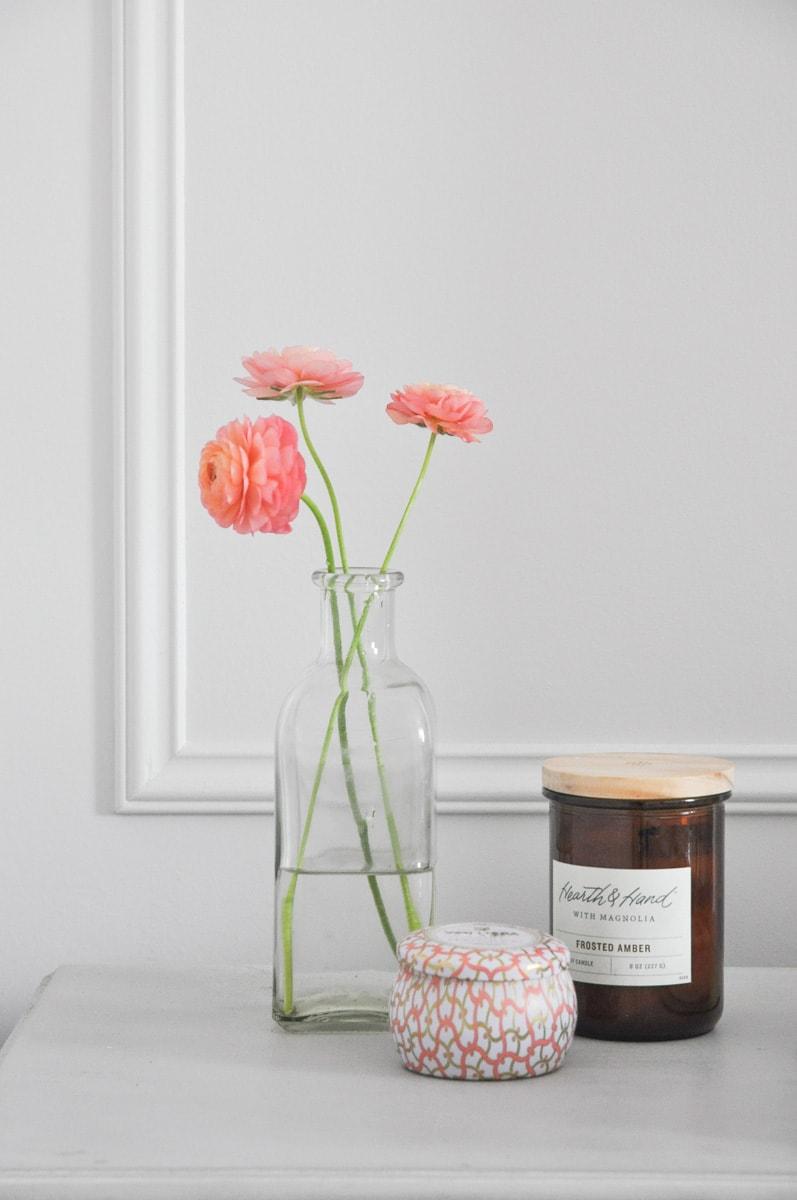fresh flowers ranunculus in vintage glass vase, cut flower garden