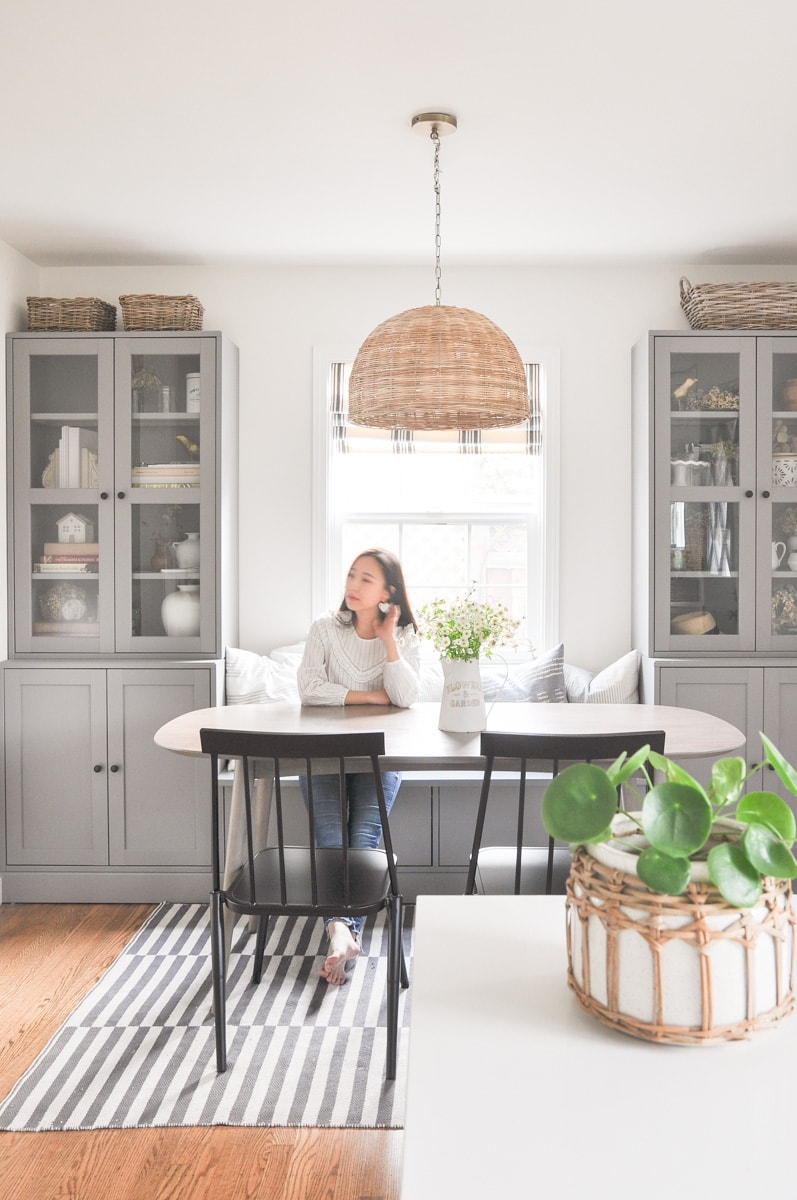 Small Dining Room Update With Ikea Banquette Review And New Pendant Hydrangea Treehouse