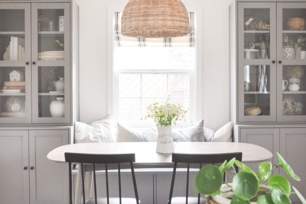 ikea havsta hack, diy banquette seating, farmhouse style small dining room