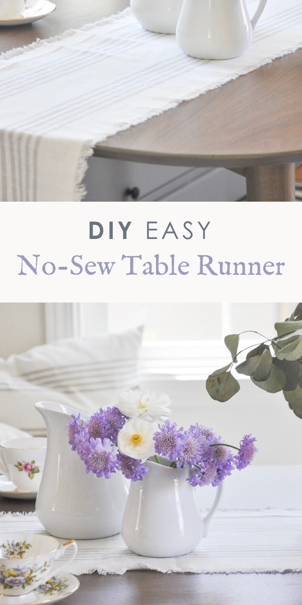 DIY easy no sew table runner project | fabric table runner farmhouse style #nosewtablerunner #diytablerunner #farmhousetablerunner