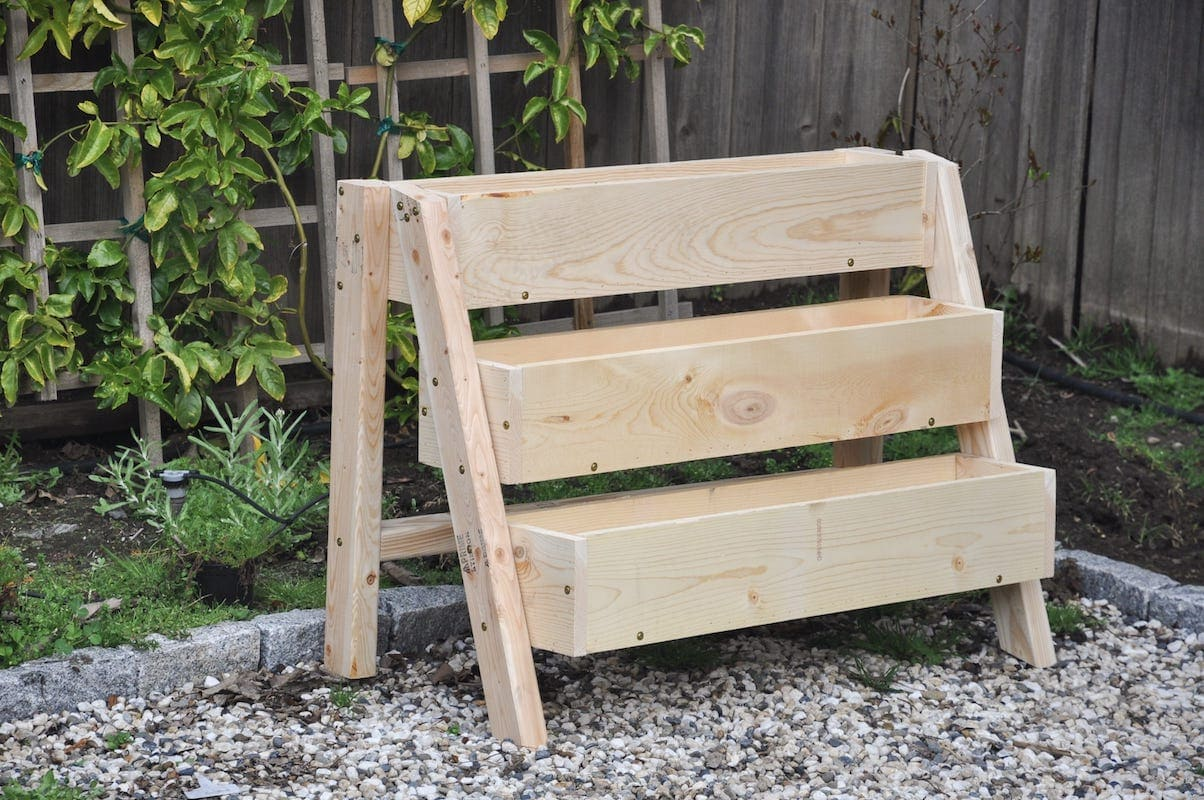 DIY tiered strawberry box planter for vertical gardening