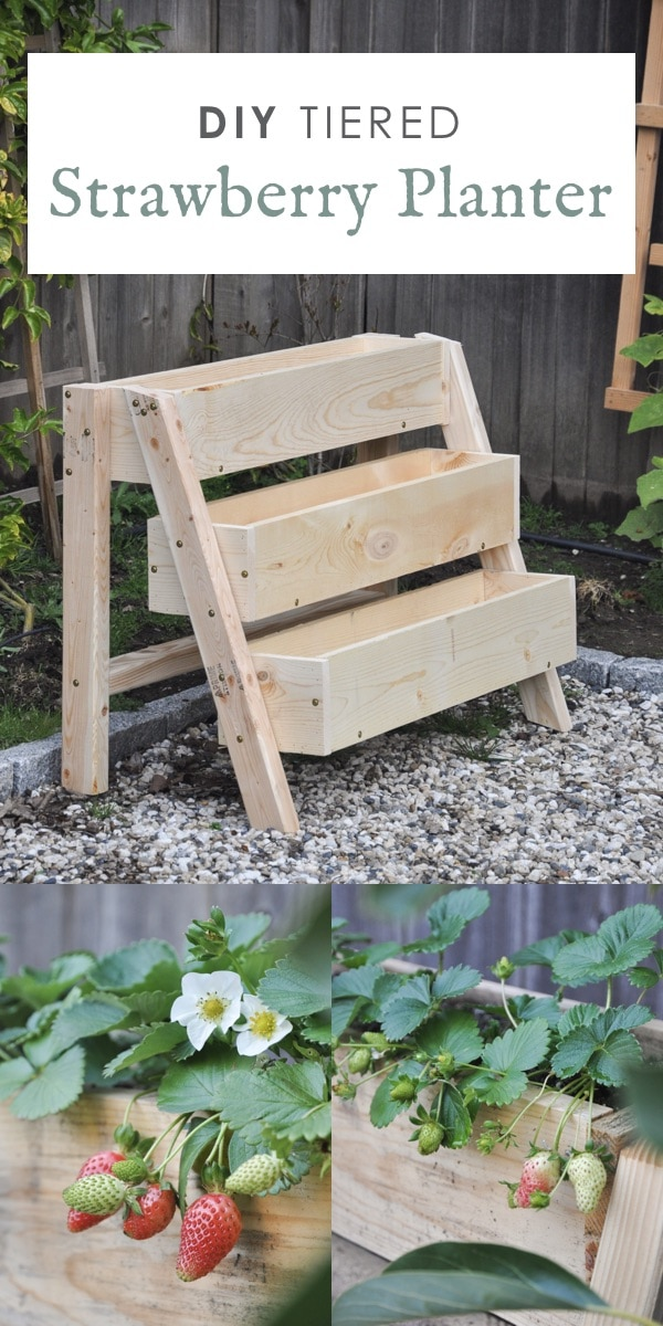 tiered strawberry planters ideas, DIY tiered strawberry box planter, vertical garden idea