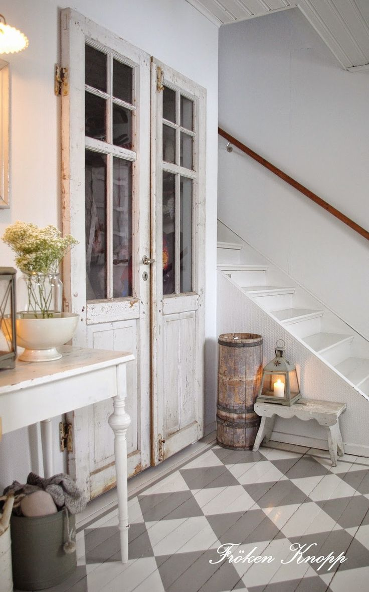 entry way to staircase, french country interior style, french rustic, vintage inspired french country cottage