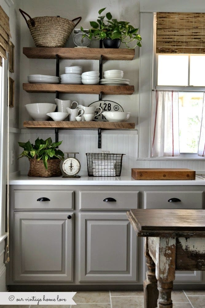kitchen gray cabinet with floating shelves, french country interior style, french rustic, vintage inspired french country cottage