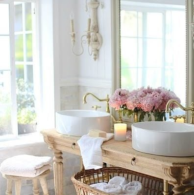 romantic vessel sink bathroom, french country interior style, french rustic, vintage inspired french country cottage