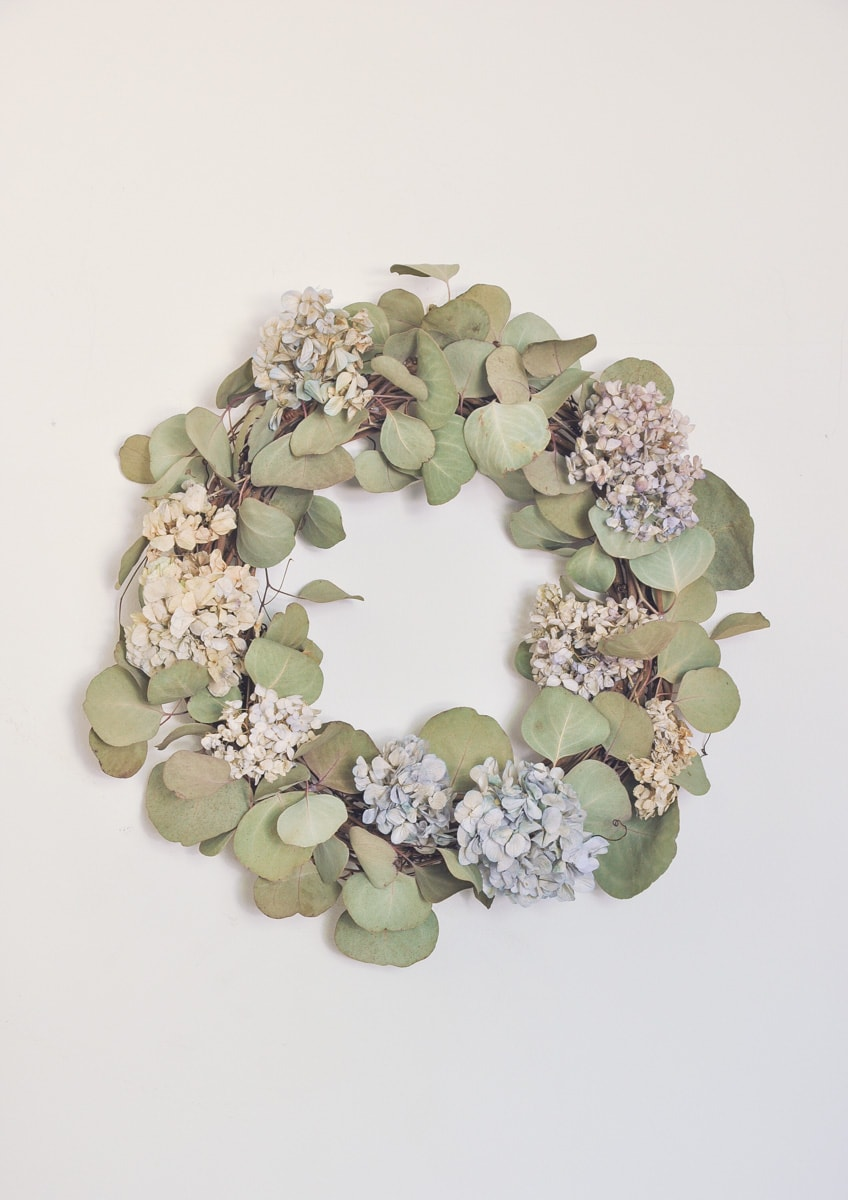 dry hydrangea and eucalyptus silver dollar floral wreath, fall, farmhouse, cottage