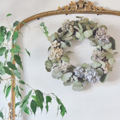 DIY Dried Hydrangea Wreath with Eucalyptus
