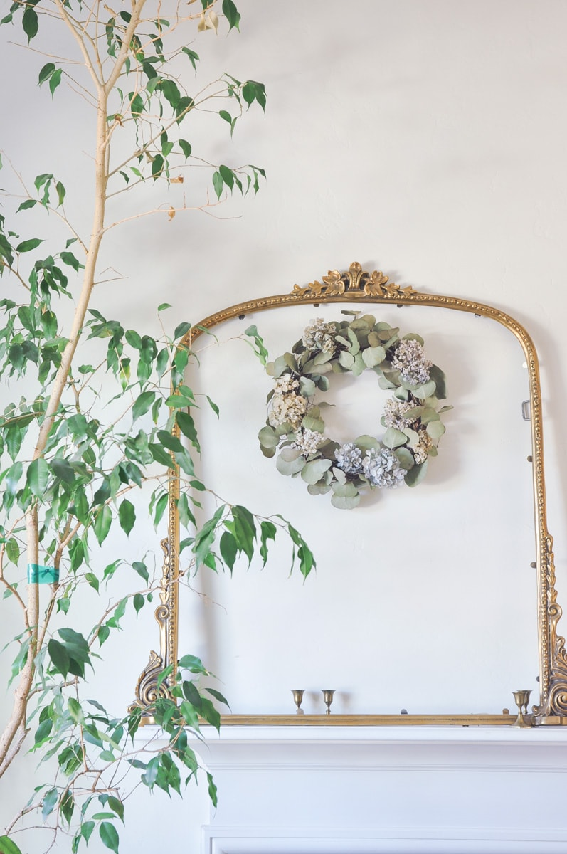 dry flower wreath with anthropologie gold mirror frame decor