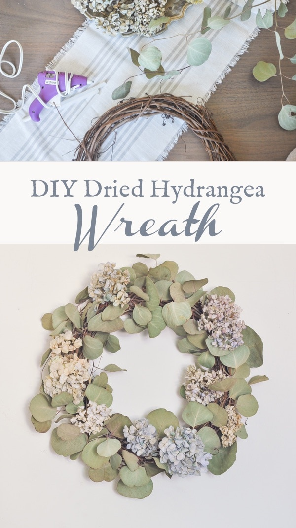 DIY fall dried hydrangeas wreath, fall decor, nikko blue wreath with eucalyptus, diy project