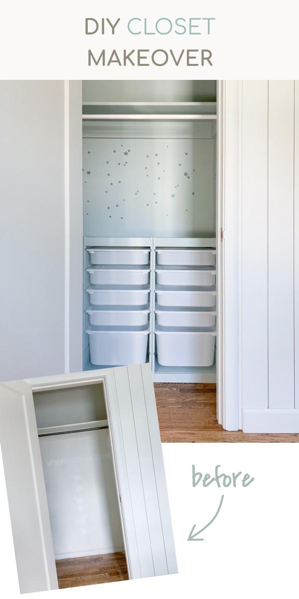 IKEA Trofast hack, DIY closet makeover, closet builtin storage unit, home office closet makeover