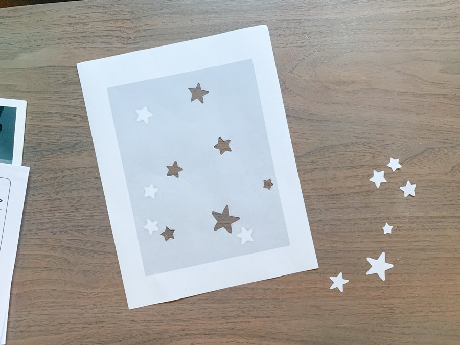 DIY star wall stencil, IKEA Trofast hack, closet builtin storage unit, home office closet makeover
